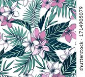 frangipani flowers and tropical ... | Shutterstock .eps vector #1714905079