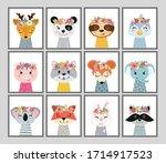 animal heads illustrations set. ... | Shutterstock .eps vector #1714917523