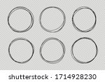 set of hand drawn circle line... | Shutterstock .eps vector #1714928230