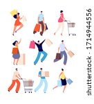 shopping people. female with... | Shutterstock .eps vector #1714944556