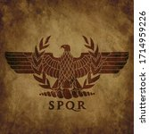 logo of the roman eagle on an... | Shutterstock .eps vector #1714959226