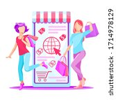 online shopping scene with...