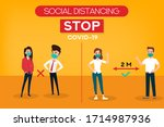 social distancing. stop... | Shutterstock .eps vector #1714987936