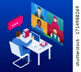 isometric video conference.... | Shutterstock . vector #1714988269