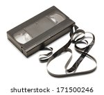 Black Vhs Tape Unwound Isolate...