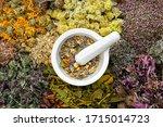 Healing Herbs And Mortar Of...
