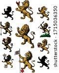 heraldry lions hand drawn...   Shutterstock .eps vector #1715036350