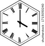 hexagon clock vector design...