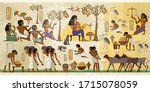 ancient egypt frescoes. old... | Shutterstock .eps vector #1715078059