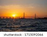 Sunset view of Incheon Bridge seen from Yeongjongdo Island near Jung-gu, Incheon, Korea