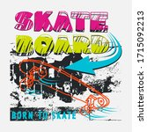 skateboard typography with cool ... | Shutterstock .eps vector #1715092213