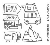 recreational vehicle and... | Shutterstock .eps vector #1715092909
