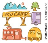 recreational vehicle and camper ... | Shutterstock .eps vector #1715098870