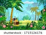 treasure pirate chest full of... | Shutterstock .eps vector #1715126176
