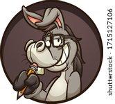smart cartoon donkey holding a... | Shutterstock .eps vector #1715127106