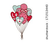 heart air balloons batch.... | Shutterstock .eps vector #171513440