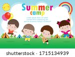 kids summer camp background... | Shutterstock .eps vector #1715134939