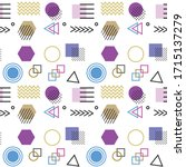 memphis style with geometric... | Shutterstock .eps vector #1715137279