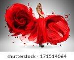 Blond Woman In Long Beautiful...
