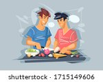 two young guys are cooking. gay ... | Shutterstock .eps vector #1715149606