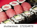 sushi mix on a plastic tray   Shutterstock . vector #171514973