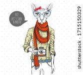 retro hipster animal sphynx cat ... | Shutterstock .eps vector #1715150329