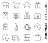 shopping line icon set. linear...