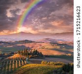 Summer Landscape With Rainbow...