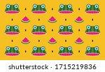 funny watermelon with... | Shutterstock .eps vector #1715219836