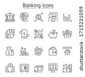 banking icon set in thin line...   Shutterstock .eps vector #1715231059