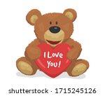 cute teddy bear with a heart. i ... | Shutterstock .eps vector #1715245126