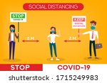 social distancing banner. stop...   Shutterstock .eps vector #1715249983