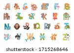 animal alphabet with ornamental ... | Shutterstock .eps vector #1715268646