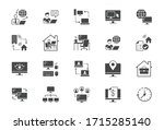 work from home flat icons.... | Shutterstock .eps vector #1715285140