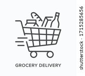 grocery delivery line icon.... | Shutterstock .eps vector #1715285656