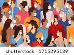 group of diversity people... | Shutterstock . vector #1715295139