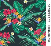 tropical floral vector seamless ... | Shutterstock .eps vector #1715338210