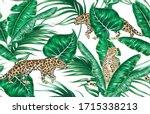 tropical palm leaves  banana... | Shutterstock .eps vector #1715338213
