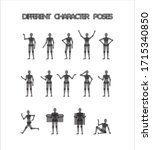 14 different character poses...   Shutterstock .eps vector #1715340850