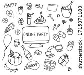 online party icon set. online... | Shutterstock .eps vector #1715371183