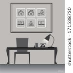 working desk with objects  ... | Shutterstock .eps vector #171538730