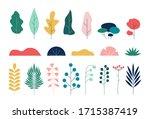 summer flat leaves. set of... | Shutterstock .eps vector #1715387419