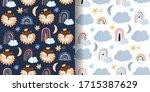childish seamless patterns set... | Shutterstock .eps vector #1715387629