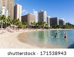 the world famous waikiki beach... | Shutterstock . vector #171538943