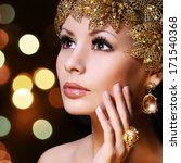 fashion girl with gold... | Shutterstock . vector #171540368
