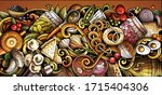 russian food hand drawn doodle... | Shutterstock .eps vector #1715404306