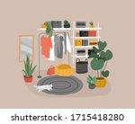 wardrobe stuff interior in... | Shutterstock .eps vector #1715418280