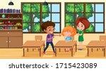scene with kid bullying their... | Shutterstock .eps vector #1715423089