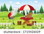 scene with bbq grill and food...   Shutterstock .eps vector #1715426029