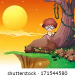 illustration of a boy hiding... | Shutterstock . vector #171544580